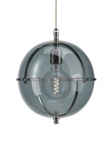 Clear glass Grafton globe pendant light In Nickel with Smoked top and Smoked bottom