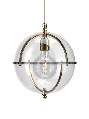Clear glass Grafton globe pendant light In Polished Brass with Clear top and Clear bottom