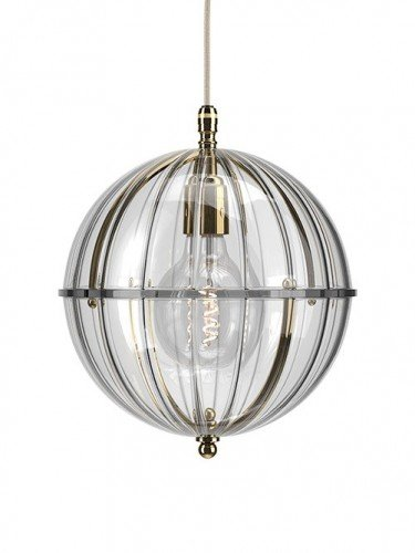Clear glass Grafton globe pendant light In Polished Brass with Ribbed top and Ribbed bottom