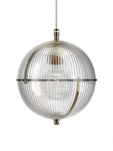 Clear glass Grafton globe pendant light In Polished Brass with Skinny Ribbed top and Skinny Ribbed bottom