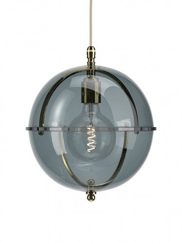 Clear glass Grafton globe pendant light In Polished Brass with Smoked top and Smoked bottom