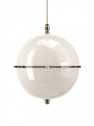 Clear glass Grafton globe pendant light In Polished Brass with White top and White bottom