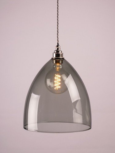 Smoked glass Ledbury shade, featured on a nickel pendant set.