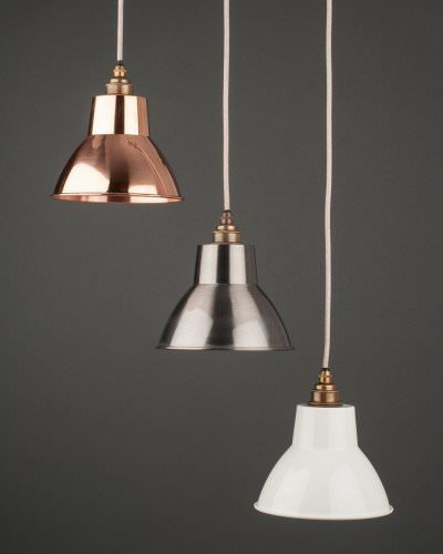 Industrial Lighting Components: White Enamal Pendant Ceiling Light