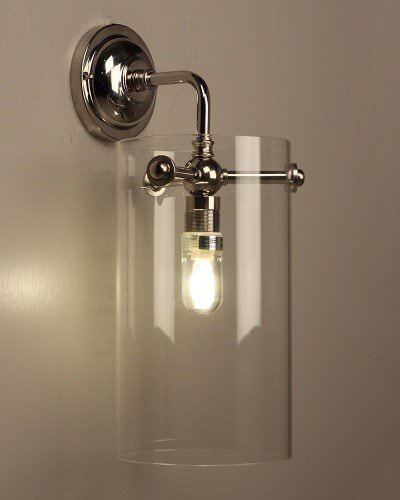 Clear Glass Bathroom Wall Light Ip44 Sellack Industrial Modern Retro Contemporary Style