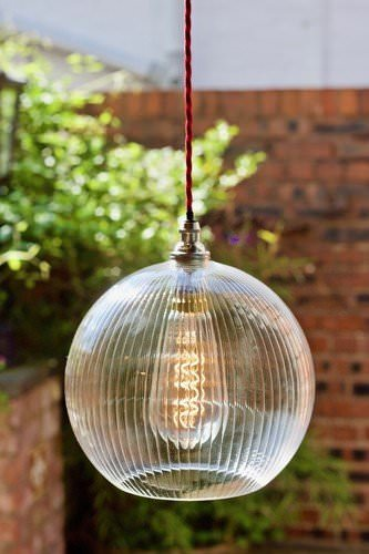 Skinny ribbed glass Hereford pendant light