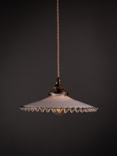 Antique french frilled coolie pendant light