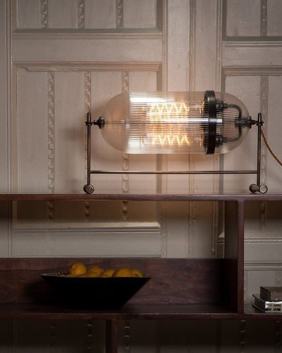 The Aston Table Lamp With Skinny Ribbed Glass, Industrial Retro Lighting