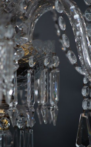 Antique Lighting Fritz Fryer Restored Crystal Chandelier Close up Crystal Shot