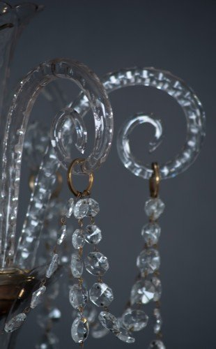Antique Lighting Fritz Fryer Restored Crystal Chandelier Crystal Close Up