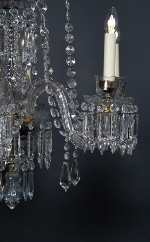 Antique Lighting Fritz Fryer Restored Crystal 6 branch Chandelier