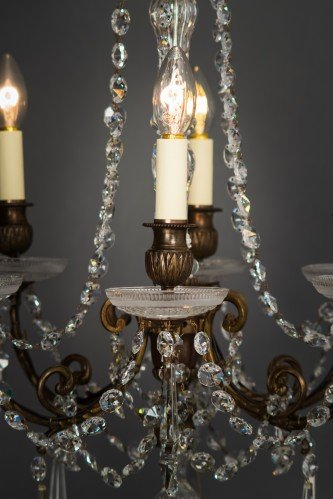 Circa 1900's Baccarat Crystal Chandelier Lit Lower Section