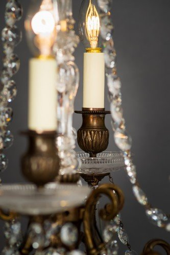 Circa 1900's Baccarat Crystal Chandelier Lit featuring Well Lit LED Bulbs