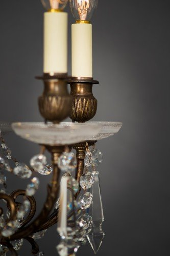 Circa 1900's Baccarat Crystal Chandelier Lamp Holder Close Up Cut Glass