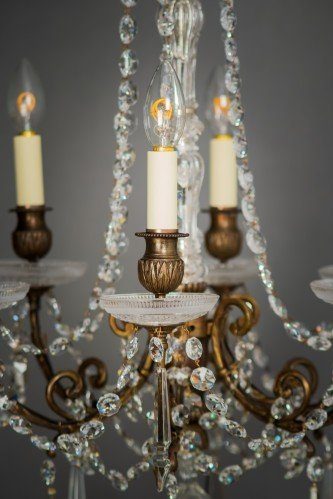 Circa 1900's Baccarat Crystal Chandelier Lit Lower Section -UN Lit