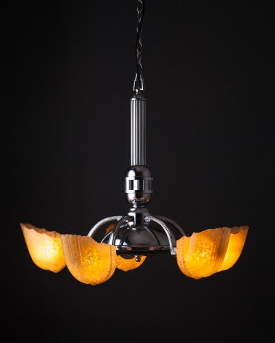 Art Deco 5 Branch Chandelier, Antique Lighting