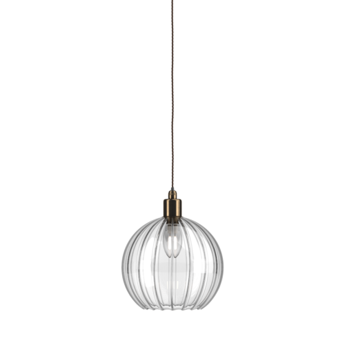 Ip44 bathroom pendant light with Hereford ribbed shade with antique brass metal