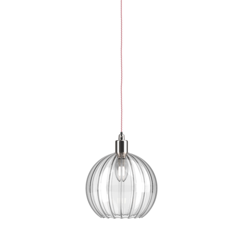 Ip44 bathroom pendant light with Hereford ribbed shade with nickel metal