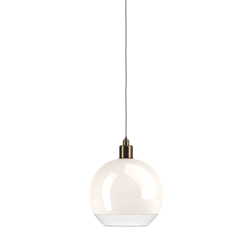 Hereford bathroom globe pendant light  in white glass with a clear rim features antique brass metal work.