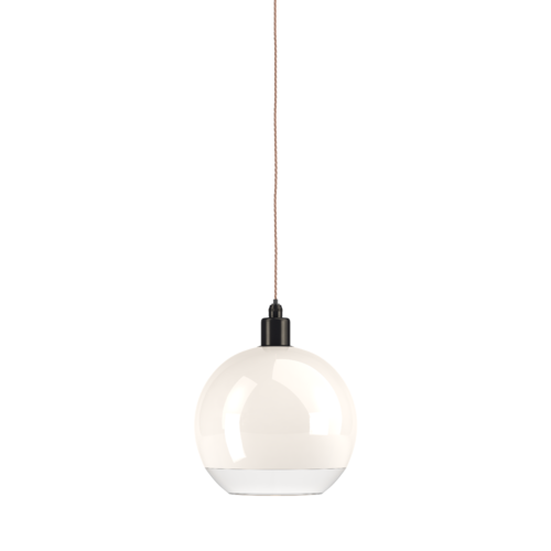 Hereford bathroom globe pendant light  in white glass with a clear rim features bronze metal work.