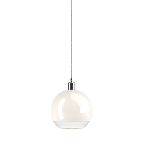 Hereford bathroom globe pendant light with nickel metalwork.