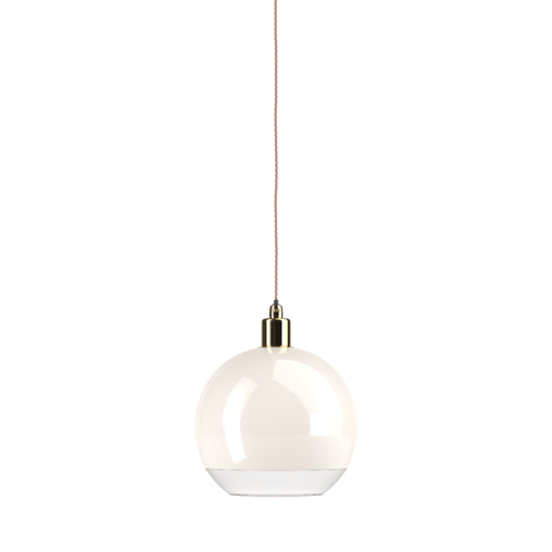 This bathroom globe pendant light is the Hereford in white glass with a clear rim.  Pendant set is polished brass.