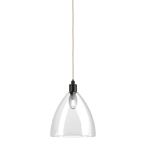 Ledbury clear glass bathroom pendant light ip44 large  bronze pigeon