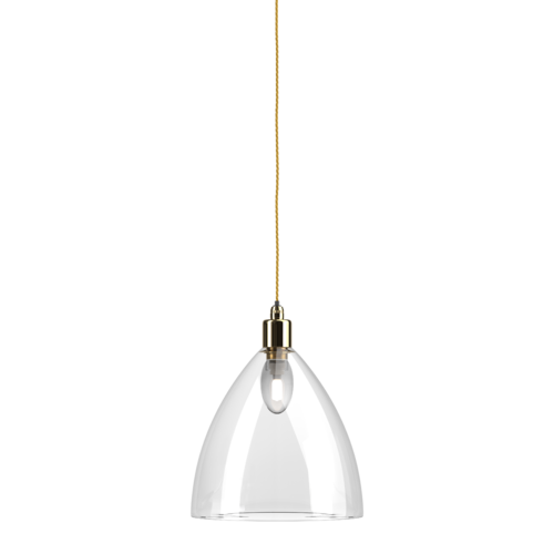 Ledbury clear glass bathroom pendant light ip44 large  polishedbrass pigeon