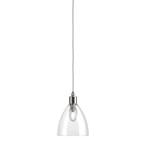 Ledbury clear glass bathroom pendant light ip44 large nickel grey