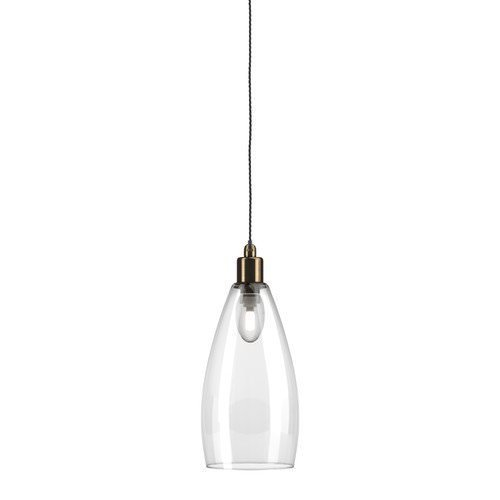 Upton glass bathroom pendant light clear antique brass pigeon