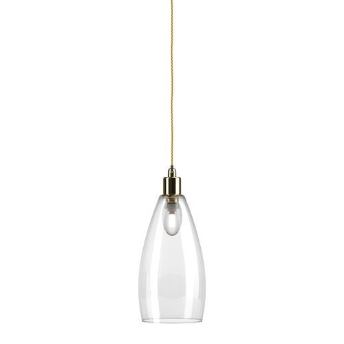 Upton glass bathroom pendant light clear polished brass