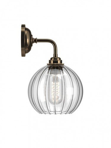 Hereford ribbed glass globe Contemporary Wall Light in Antique Brass