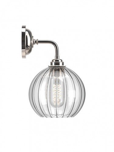 Hereford ribbed glass globe Contemporary Wall Light in Nickel