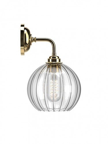 Hereford ribbed glass globe Contemporary Wall Light in Polished Brass
