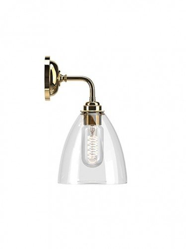 Ledbury clear glass Contemporary Wall Light in Polished Brass