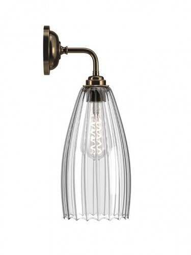 Contemporary wall light with Large Ribbed handglown glass Upton shade in Antique Brass