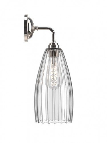 Contemporary wall light with Large Ribbed handglown glass Upton shade in Nickel