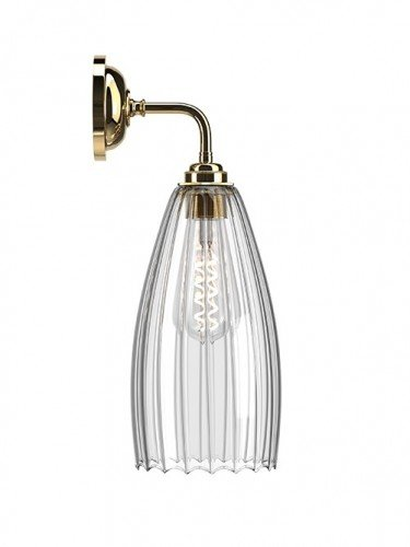 Contemporary wall light with Large Ribbed handglown glass Upton shade in Polished Brass