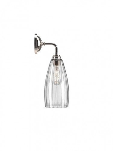 Contemporary wall light with Ribbed handglown glass Upton shade in Nickel
