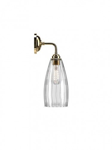 Contemporary wall light with Ribbed handglown glass Upton shade in Polished Brass