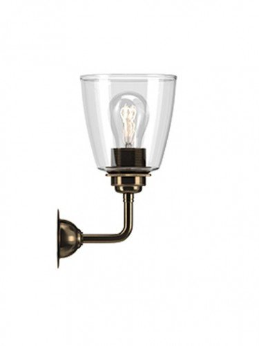 Industrial Wall light with Clear hand blown glass Pixley shade in Antique Brass