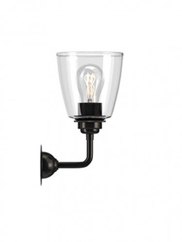 Industrial Wall light with Clear hand blown glass Pixley shade in Bronze