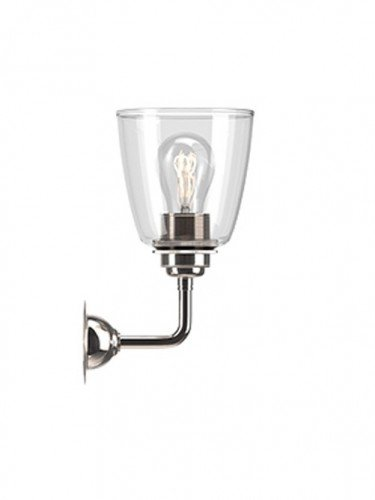 Industrial Wall light with Clear hand blown glass Pixley shade in Nickel