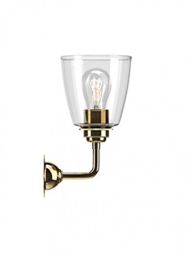 Industrial Wall light with Clear hand blown glass Pixley shade in Polished Brass