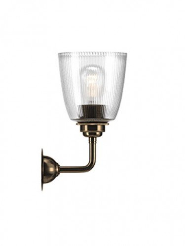 Industrial Wall light with Skinny Ribbed hand blown glass Pixley shade in Antique Brass