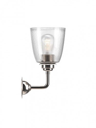 Industrial Wall light with Skinny Ribbed hand blown glass Pixley shade in Nickel