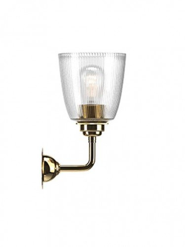Industrial Wall light with Skinny Ribbed hand blown glass Pixley shade in Polished Brass