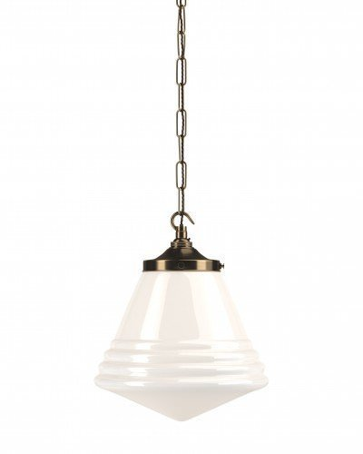 Deco style, retro cafe pendant lights with antique brass gallery