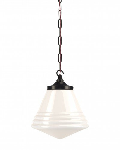 Deco style, retro cafe pendant light with bronze chain and gallery