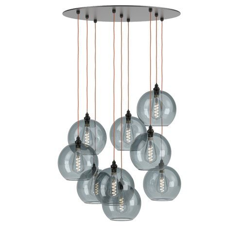 Hereford multi pendant cluster chandelier with smoked glass globes